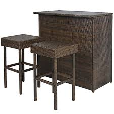 Outdoor Bar Table And Stools Best Choice Products 3pc Wicker Bar Set Patio Outdoor