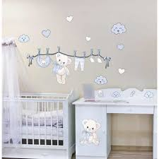 chambre bebe ourson stickers bebe ourson naissance bleu kit 50x90cm achat stickers