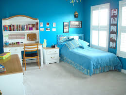cheerful light blue teenage girls bedroom interior design with