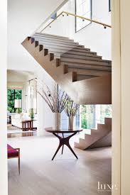 Free Standing Stairs Design Contemporary Foyer With Freestanding Oak Staircase Luxe