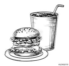 sandwich hamburger or burger fast food and drink cocktail soda
