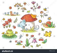 hand drawn flowers insects animals kids stock vector 265985060