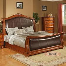 lifestyle 0243 ca king faux leather upholstered sleigh bed with
