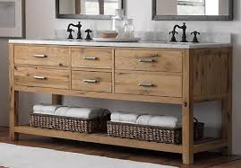 weathered wood bathroom vanities for a cottage style bathroom are