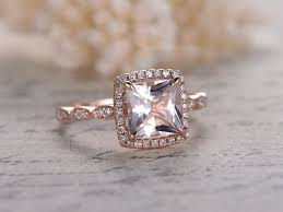 7mm diamond myray 7mm princess cut pink morganite diamond halo antique