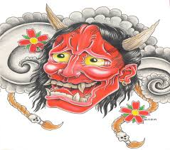 red japanese demon with cherry blossom and grey clouds tattoo