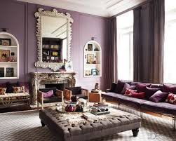 Living Room With Purple Sofa Modeern Living Room With Violet Wall Paint Big Wall Mirror Purple