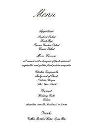 wedding menu cards wedding menus design your menu instantly online basic invite