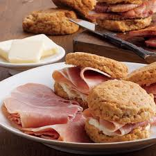 country ham slices cooked u0026 biscuits edwards virginia smokehouse