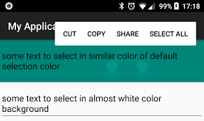 layoutinflater applicationcontext android how to have different text selection related colors of