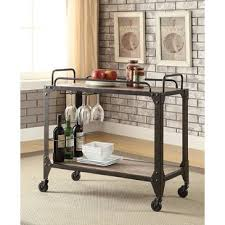 industrial iron wood kitchen trolley natural black buy kitchen bar carts you ll love wayfair