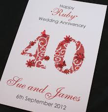 large handmade personalised 40th ruby wedding anniversary card