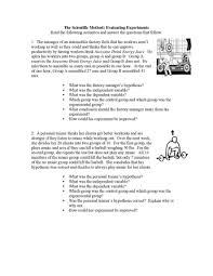 worksheet evaluating experiments betterlesson