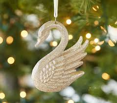 lhuillier glitter swan ornament pottery barn