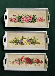 wooden tray floral design set of 3 trays gifts ideas for him