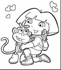 astounding dora printable coloring pages for kids with cartoon