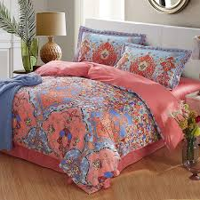 Damask Print Comforter Coral Light And Blue Folklore Flower Print Exotic Persian Style