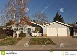 one story house with sidewalk and trees side royalty free stock one story house with sidewalk and trees side