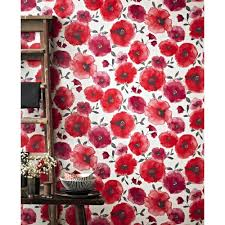 Pink Removable Wallpaper by Graham U0026 Brown Poppies Red Removable Wallpaper 32 467 The Home Depot