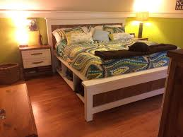 White Bed Bench Storage Bedding Ana White Farmhouse Bed Queen Diy Projects Ana White Bed