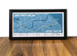 Map Running Route by Great North Run 2017 Map Or Route Print Personalised Gift