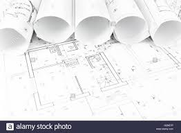 part of architectural project and house plan blueprints rolled up