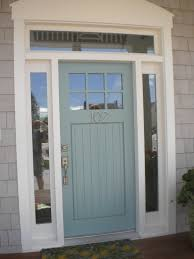 blue fiberglass modern with six glass panel and white wooden frame