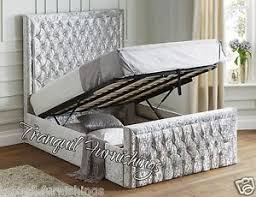 king size ottoman bed frame filo storage end opening ottoman bed upholstered in velvet double