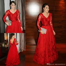 2015 red lace prom dresses long sleeve floor length v neck evening