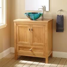 Narrow Depth Alcott Bamboo Vessel Sink Vanity Bathroom - Bathroom vanity for vessel sink