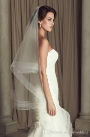 simple two tier mid length veil with horsehair trim veils for