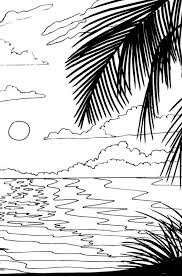 tropical beach coloring pages drawn ocean beach scene pencil and in color drawn ocean beach scene
