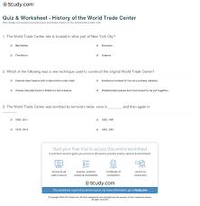 quiz u0026 worksheet history of the world trade center study com