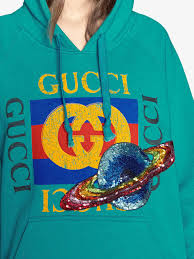 gucci logo hooded sweatshirt with planet in blue lyst