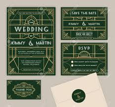 emerald green art deco wedding invitation template art deco