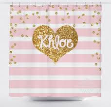 light pink stripe and gold glitter shower curtain Pink And Gold Curtains