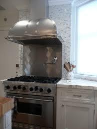 Half Height Cooktop Backsplash Transitional Kitchen - Stainless steel cooktop backsplash