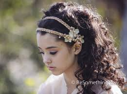 hair beading beaded tie blush wedding headband with flowers and beading