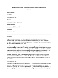 effects of corporate governance to company conduct and