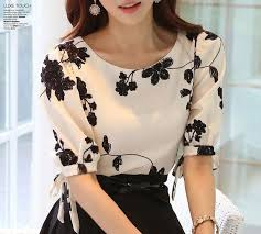 s blouse summer white chiffon blouse o neck half sleeve style