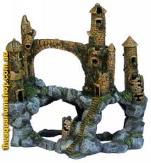 water works mountain castle aquarium castle ornament 17 5x35