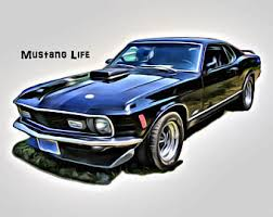 1970 Black Mustang Ford Mustang T Shirt Etsy