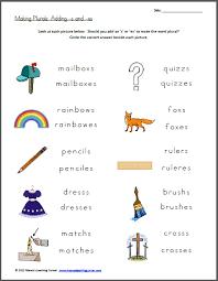 free worksheet making plurals add s or es free homeschool