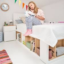 White Single Bed With Storage 4you Bed With Storage Shelves In White Beds Cuckooland
