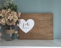 Rustic Wedding Guest Book Rustic Wedding Guest Book Alternative Initials U0026 Heart Guest