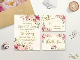 summer wedding invitations floral wedding invitation printable boho chic wedding invitation