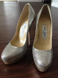 used wedding shoes jimmy choo alex chagne glitter fabric platform pumps wedding