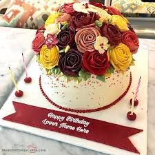 Roses Birthday Cake With Name