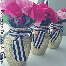 Flower Vases Centerpieces 3 Gold Black And White Vases Bridal Shower Baby Shower