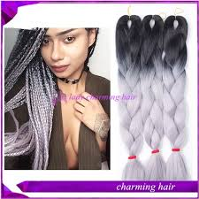 ombre human braiding hair 24 100g cheap synthetic braiding hair black to sliver grey ombre